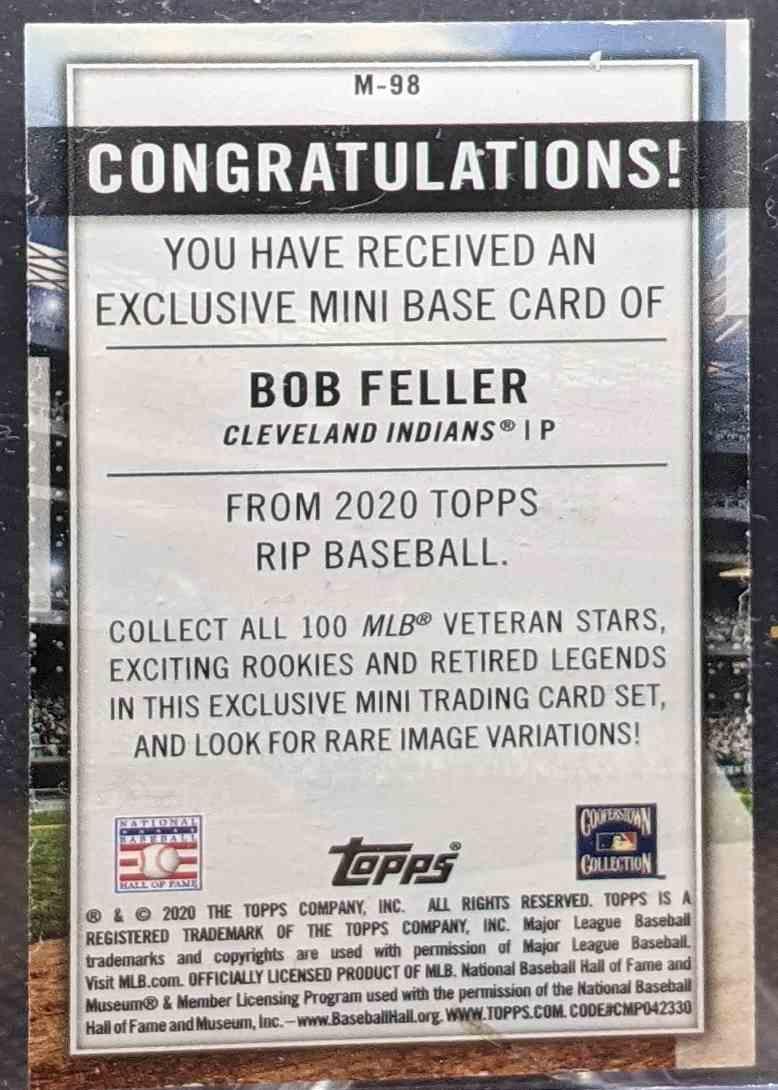 2020 Topps Rip Baseball Bob Feller #M-98 card back image