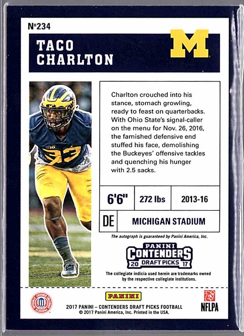 2017 Panini Contenders Draft Picks College Draft Ticket Blue Foil Taco Charlton #234 card back image