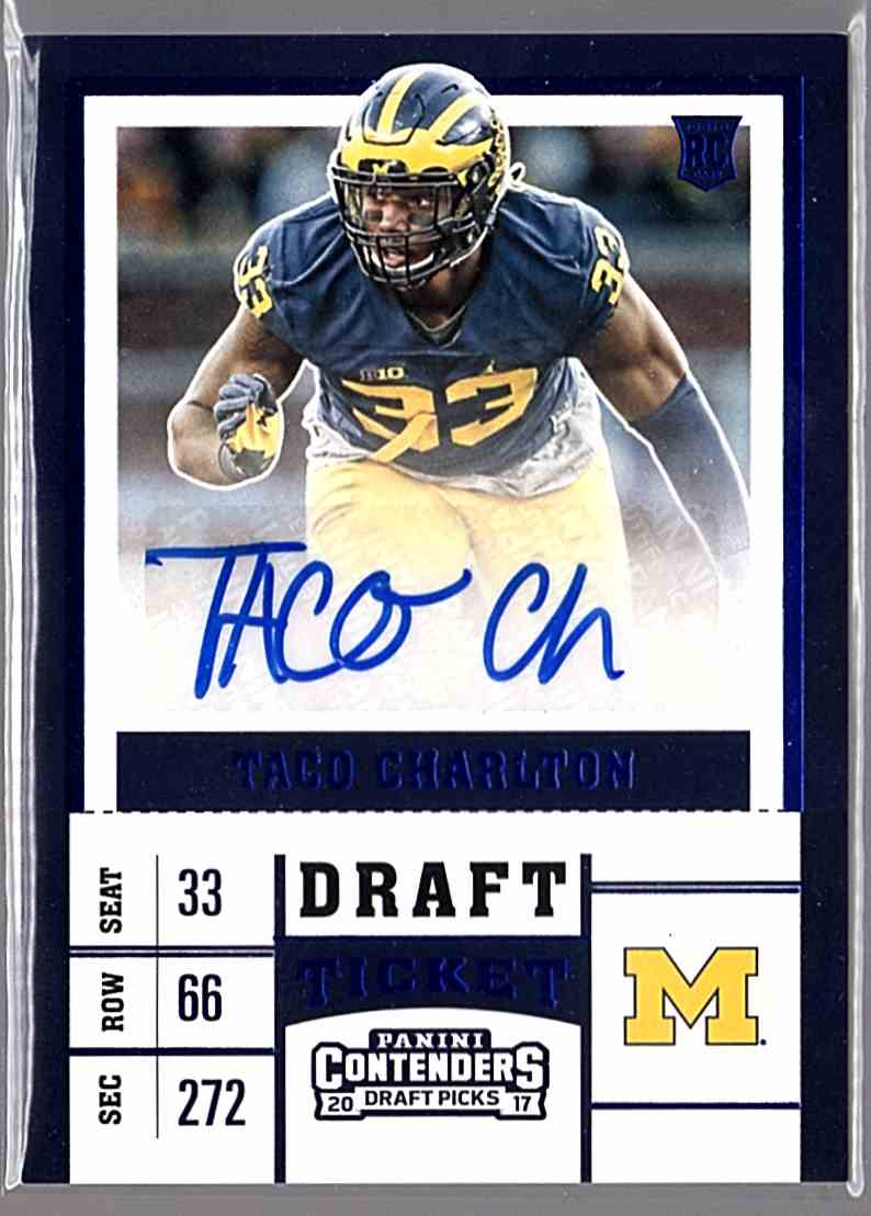 2017 Panini Contenders Draft Picks College Draft Ticket Blue Foil Taco Charlton #234 card front image