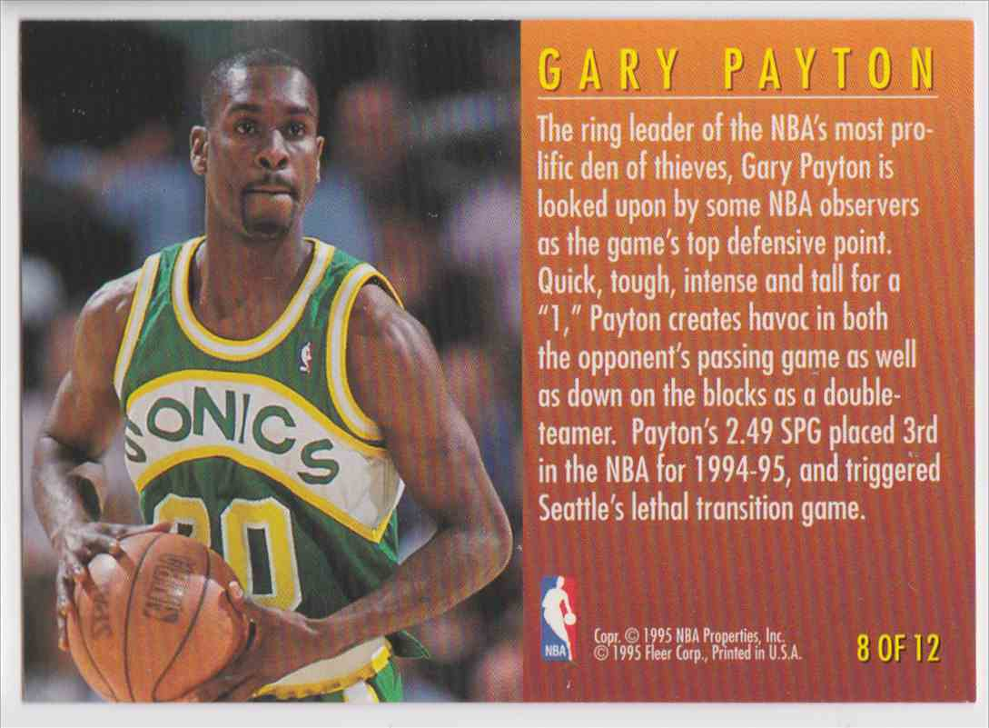 1995-96 Fleer Total D Gary Payton #8 OF 12 card back image