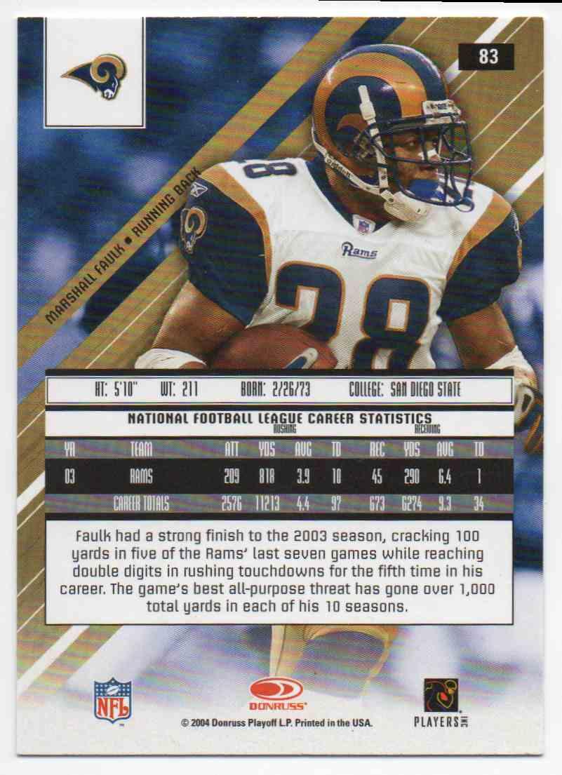 2004 Leaf Rookies & Stars Marshall Faulk #83 card back image