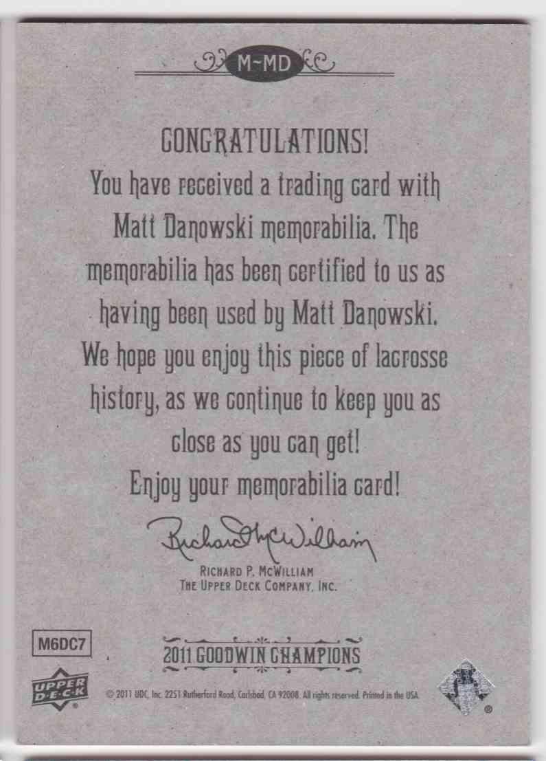 2011 UD Goodwin Champions Matt Danowski #M-MD card back image