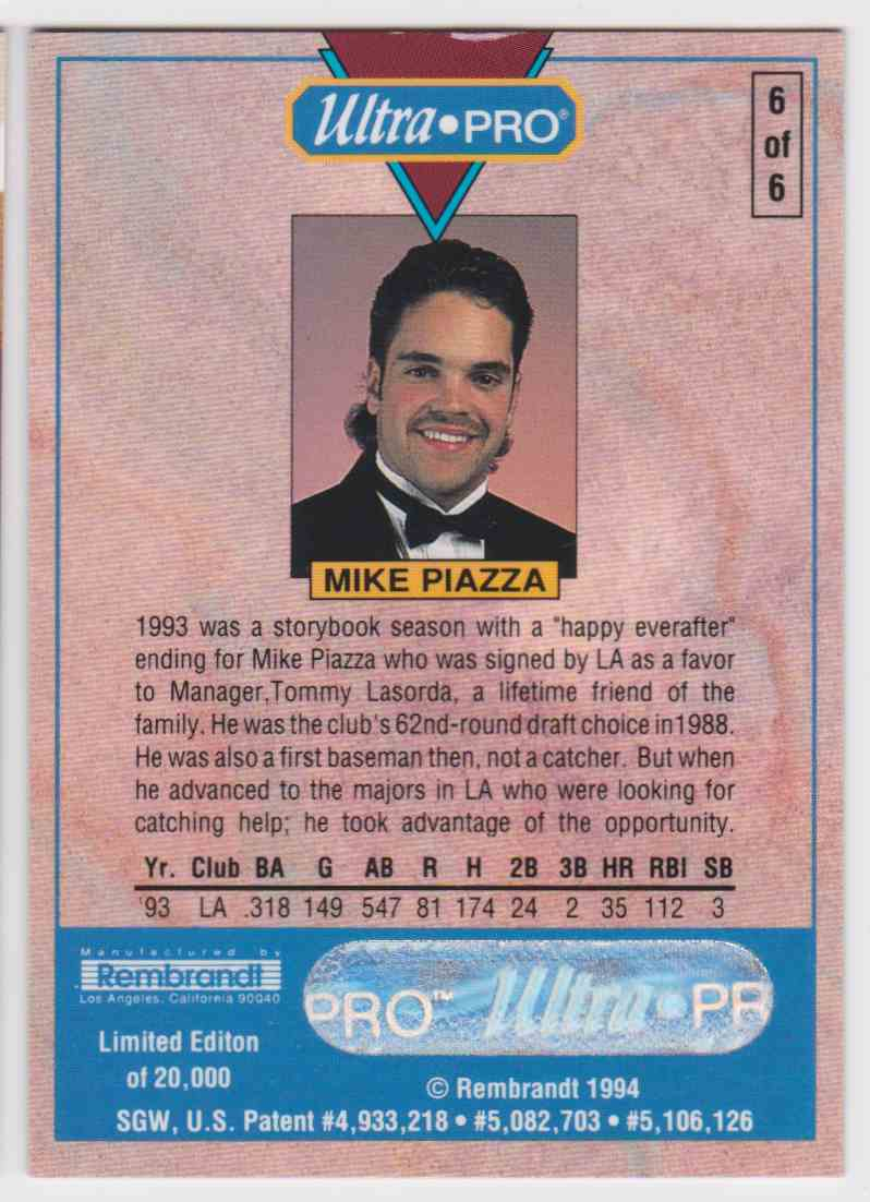 1994 Ultra Pro Roy Sp Mike Piazza 6 Of 6 On Kronozio