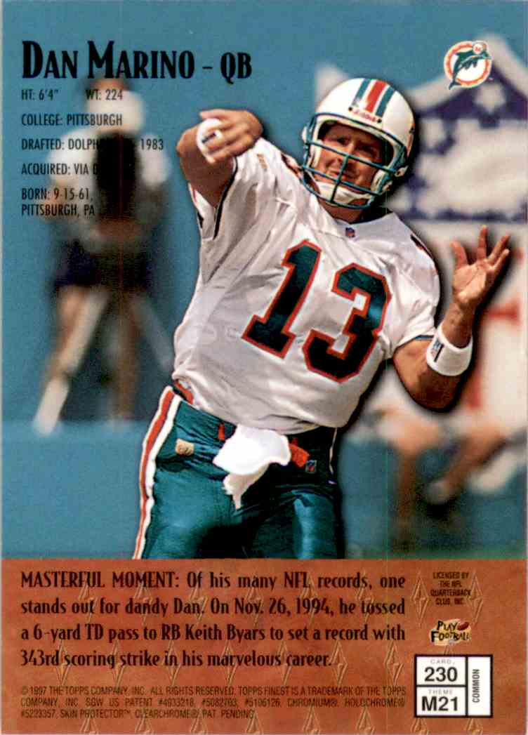 1997 Finest Dan Marino B #230 card back image