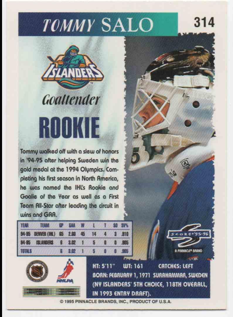 1995-96 Score Tommy Salo #314 card back image