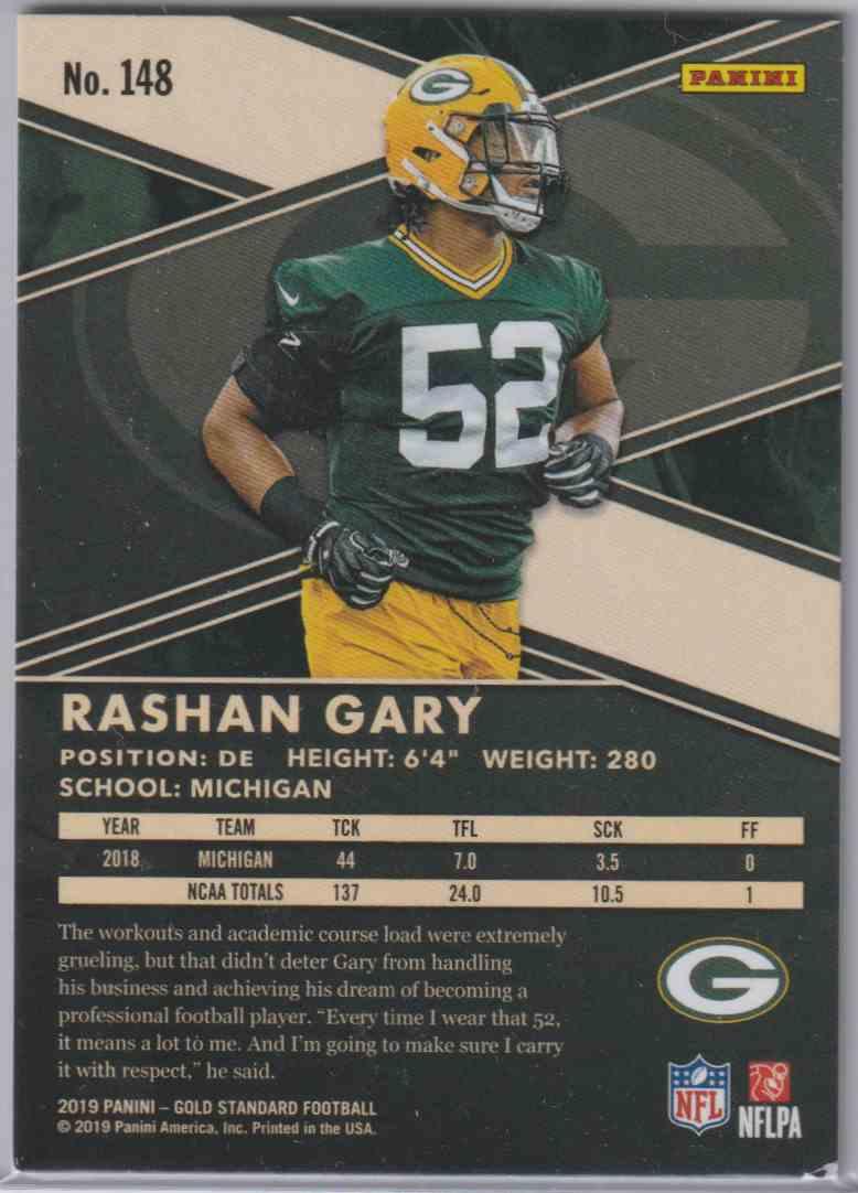 2019 Panini Gold Standard Base Rashan Gary #148 card back image