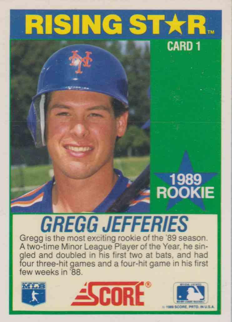 1989 Score Hotest 100 Rookies Gregg Jefferies 1 On Kronozio