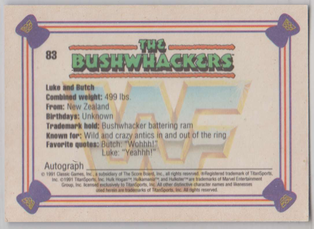 1991 Classic WWF Superstars The Bushwhackers #83 card back image