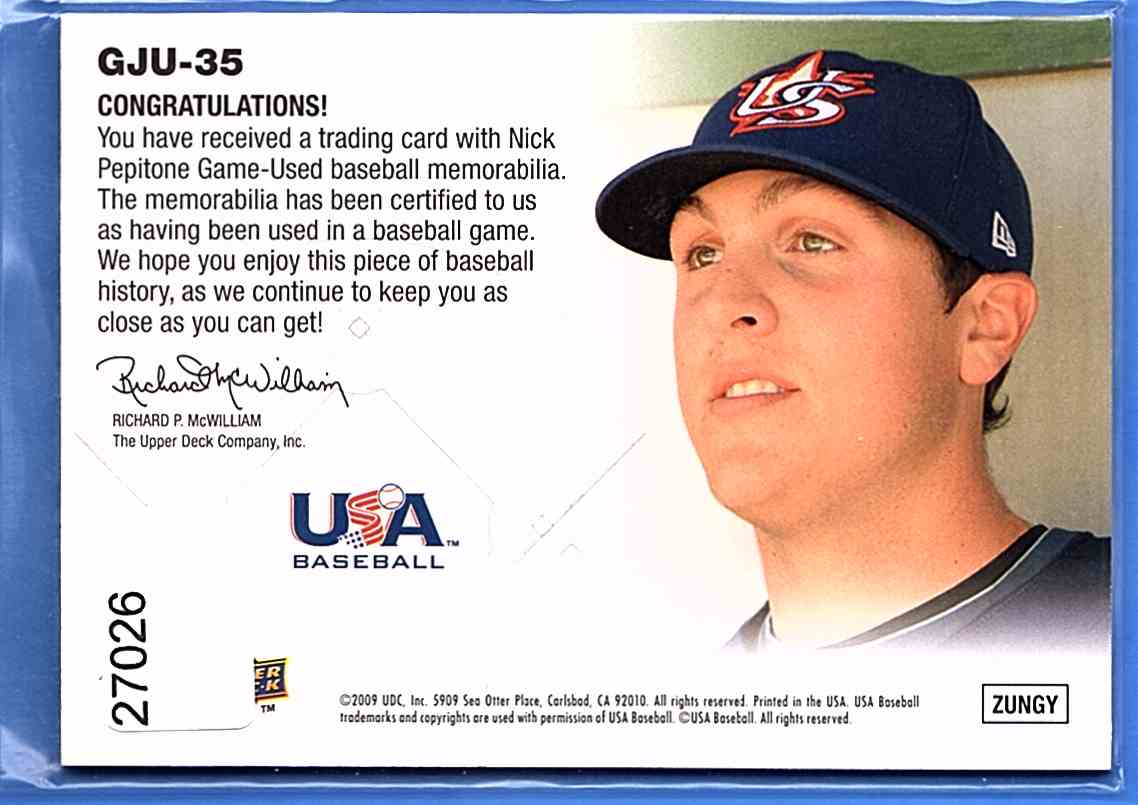 2009 Upper Deck Signature Stars USA Star Prospects Jerseys Nick Pepitone #GJU35 card back image