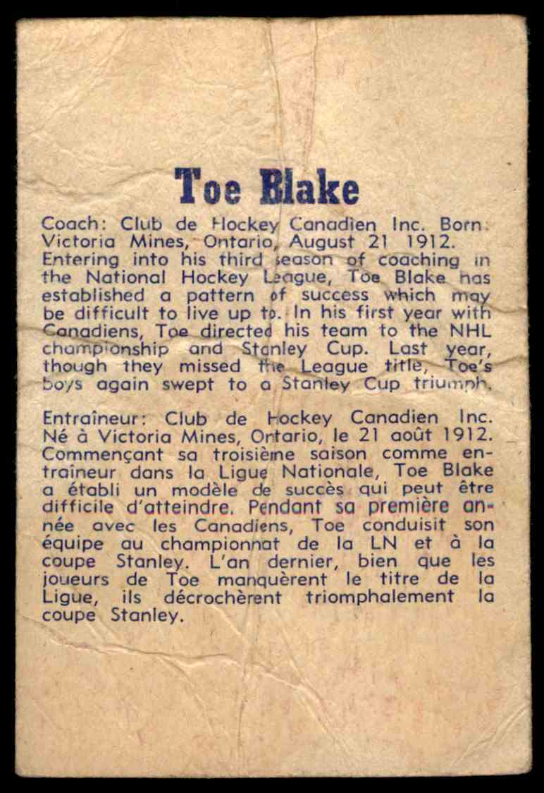 1957-58 Parkhurst Toe Blake #16 card back image