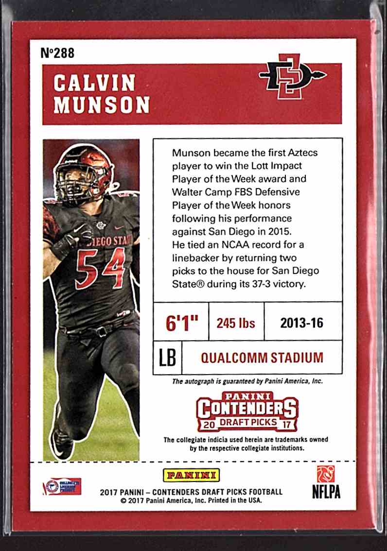 2017 Panini Contenders Draft Picks Calvin Munson #288 card back image