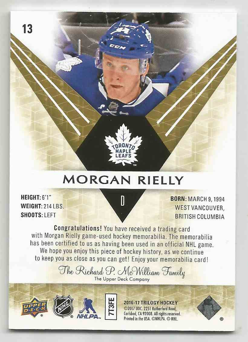 2016-17 Upper Deck Trilogy Rainbow Green Morgan Rielly #13 card back image