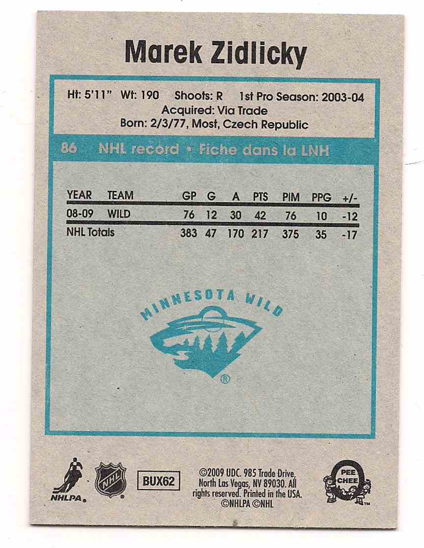 2009-10 0-Pee-Chee Retro Marek Zidlicky #86 card back image