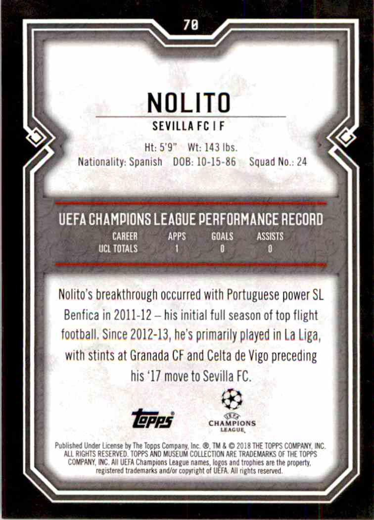 2017 Topps Uefa Champions League Ruby Nolito #78 card back image