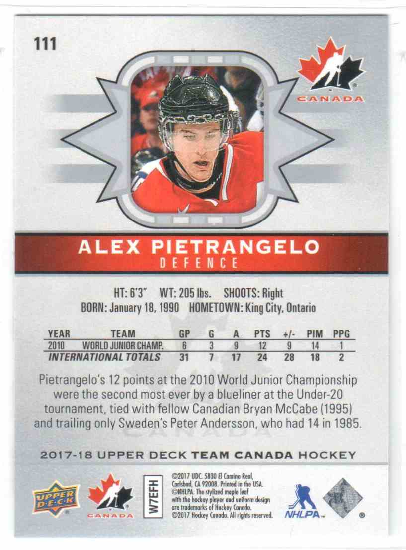 2017-18 Upper Deck Team Canada Canadian Tire Alex Pietrangelo #111 card back image