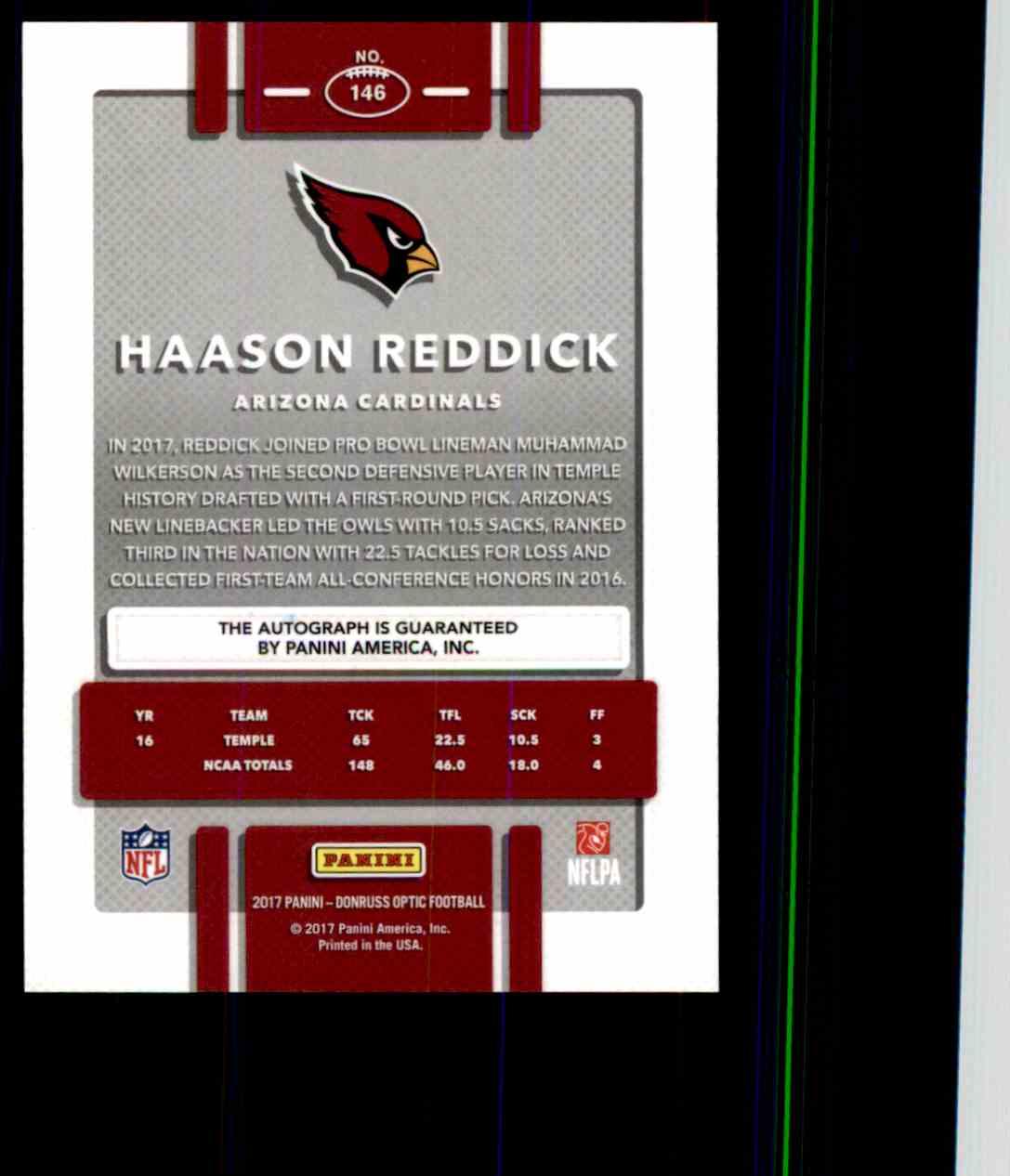 2017 Donruss Optic Bronze Haason Reddick card back image
