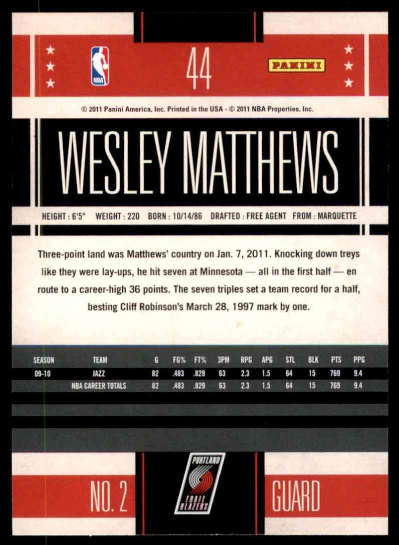 2010-11 Classics Wesley Matthews #44 card back image
