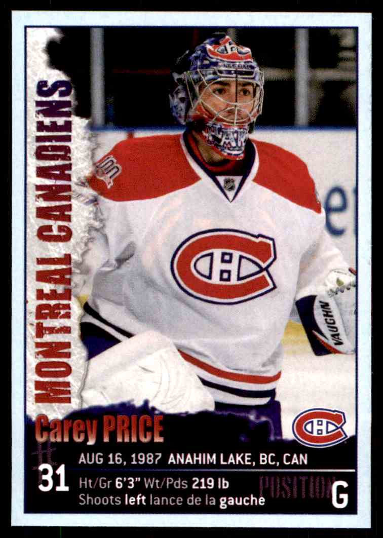 2009-10 Panini Stickers Carey Price #62 card front image