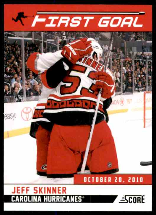 2011-12 Score First Goal Jeff Skinner #1 card front image