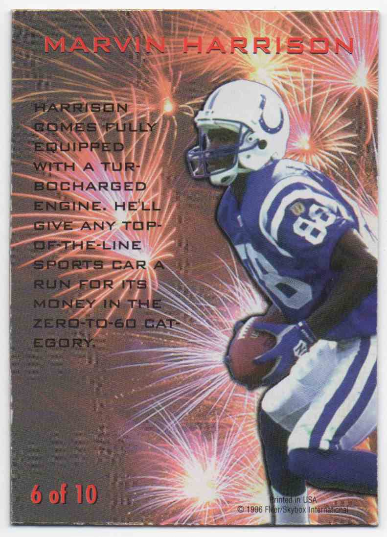 1996 Skybox SkyMotion Marvin Harrison #6 card back image