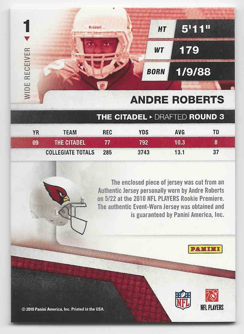 2010 Absolute Memorabilia Rookie Jersey Collection Andre Roberts #1 card back image