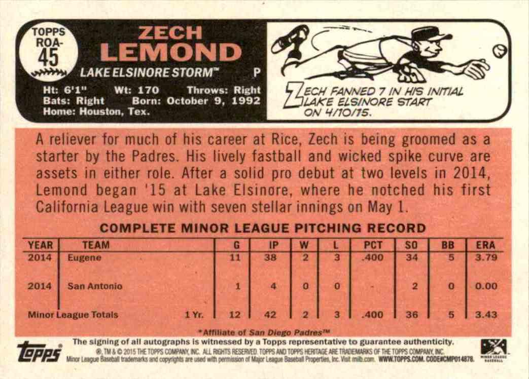 2015 Topps Heritage Minors Real One Autographs Zech Lemond #45 card back image