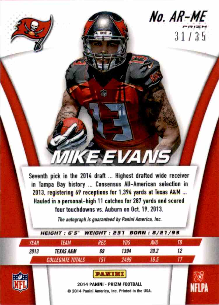 2014 Panini Prizm Rookie Autographs Prizms Red Mike Evans #ARME card back image