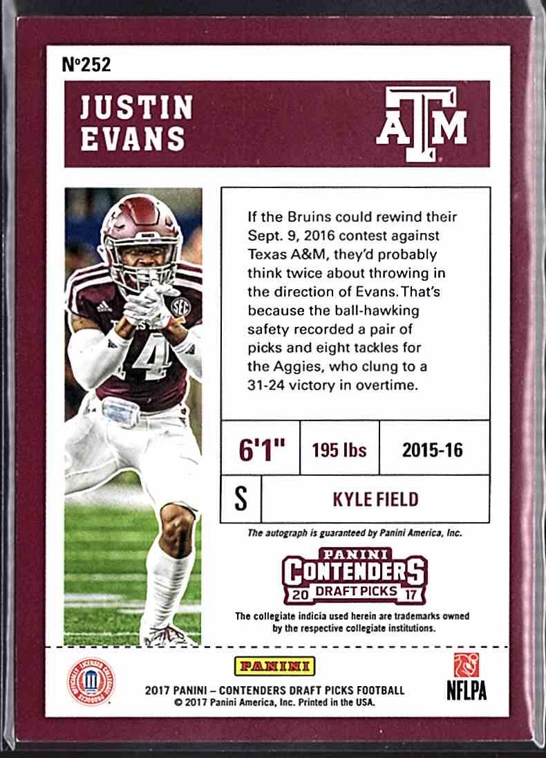 2017 Panini Contenders Draft Picks Justin Evans #252 card back image