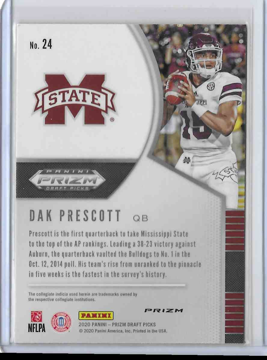 2020 Panini Prizm Draft Picks Blue Dak Prescott #24 card back image