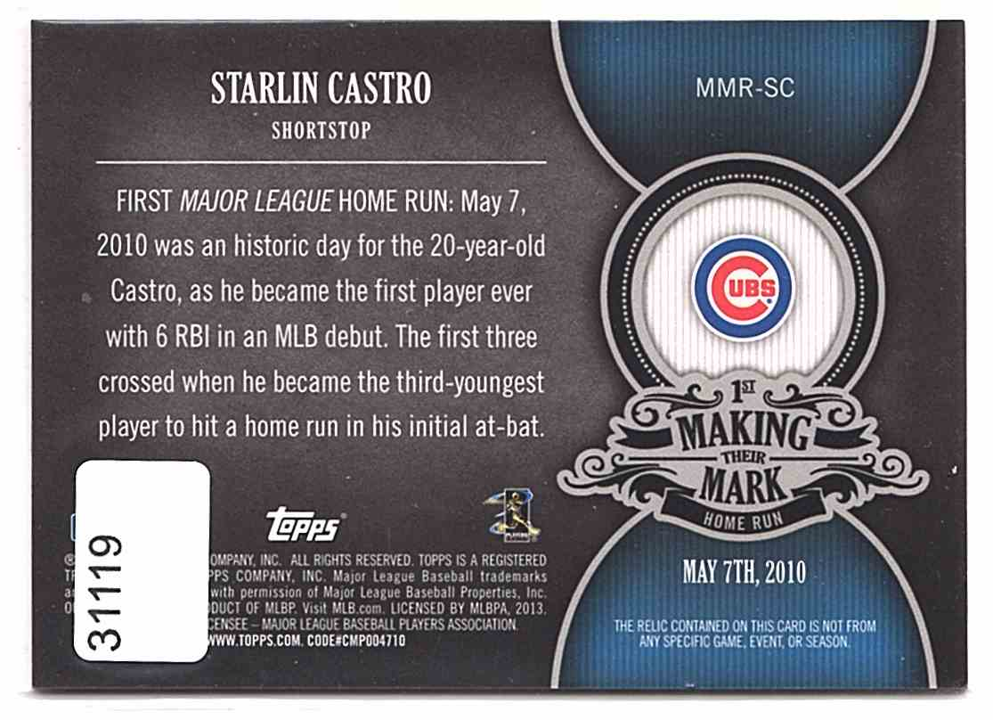 2013 Topps Making Their Mark Relics Starlin Castro #MMRSC card back image