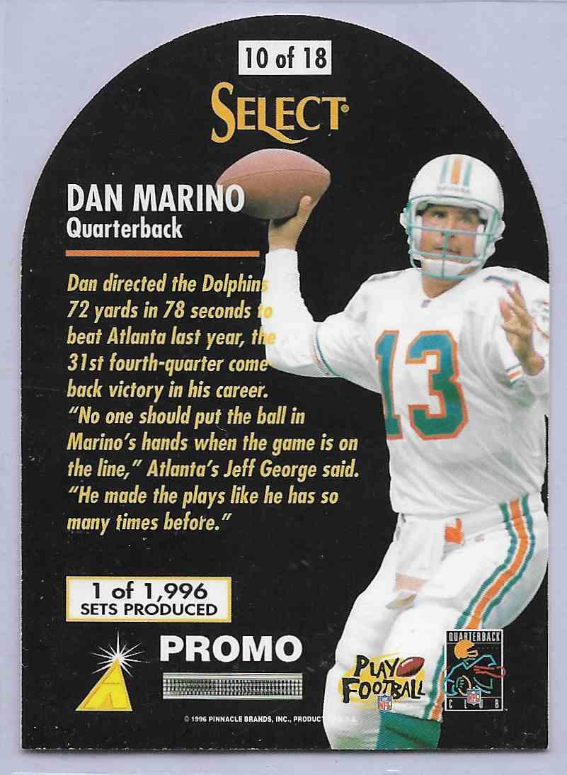 1996 Select Dan Marino #10 card back image