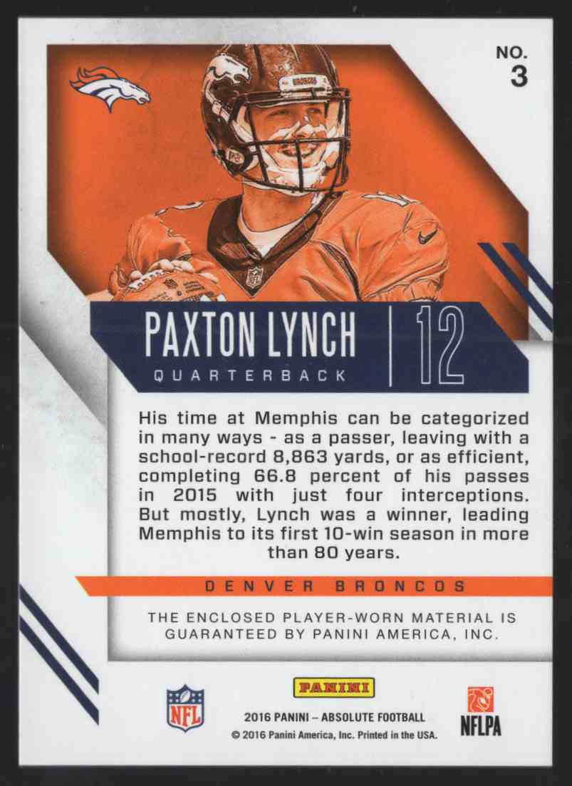 2016 Absolute Rookie Jerseys Paxton Lynch #3 card back image