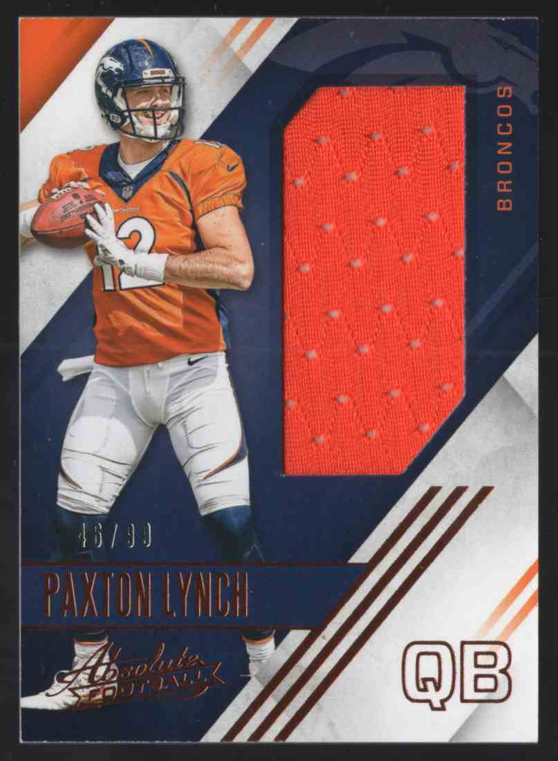 2016 Absolute Rookie Jerseys Paxton Lynch #3 card front image