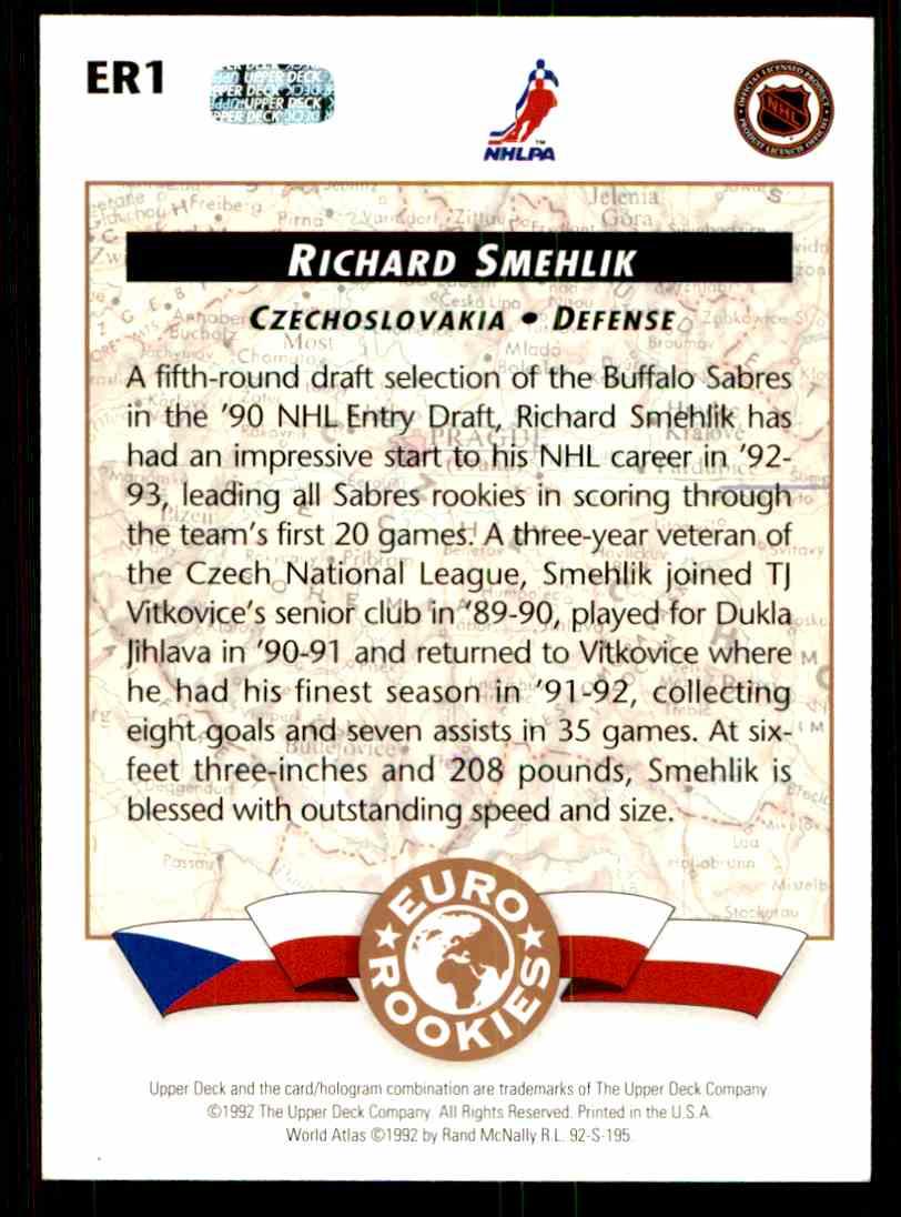 1992-93 Upper Deck Euro-Rookies Richard Smehlik #ER1 card back image