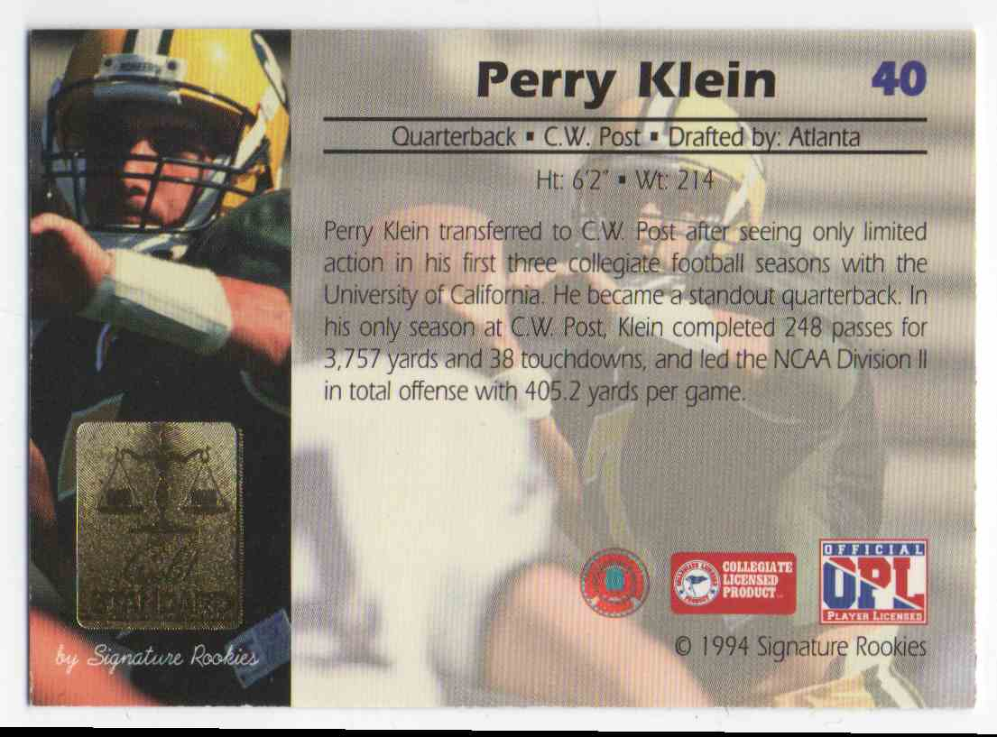 1994 Signature Rookies Gold Standard Perry Klein #40 card back image
