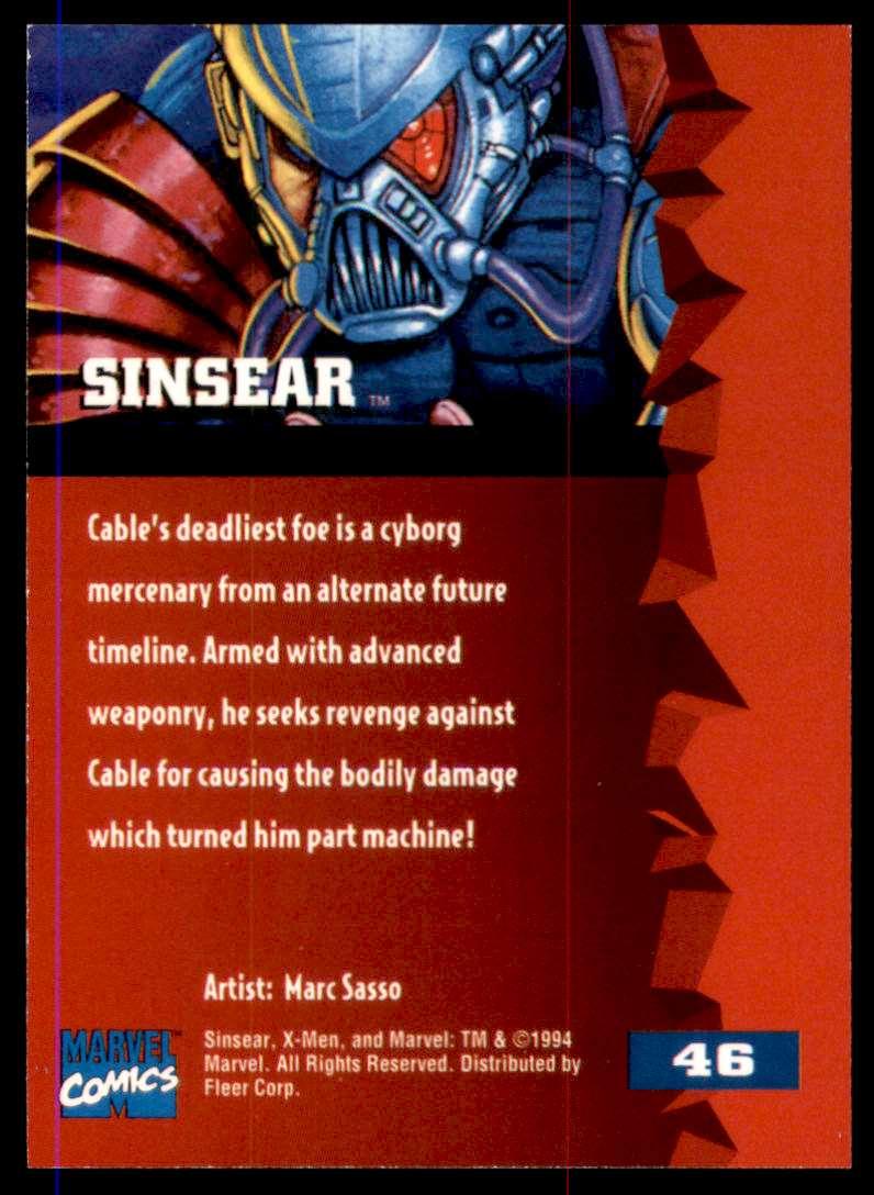 1995 X-Men Ultra Sinsear #46 card back image