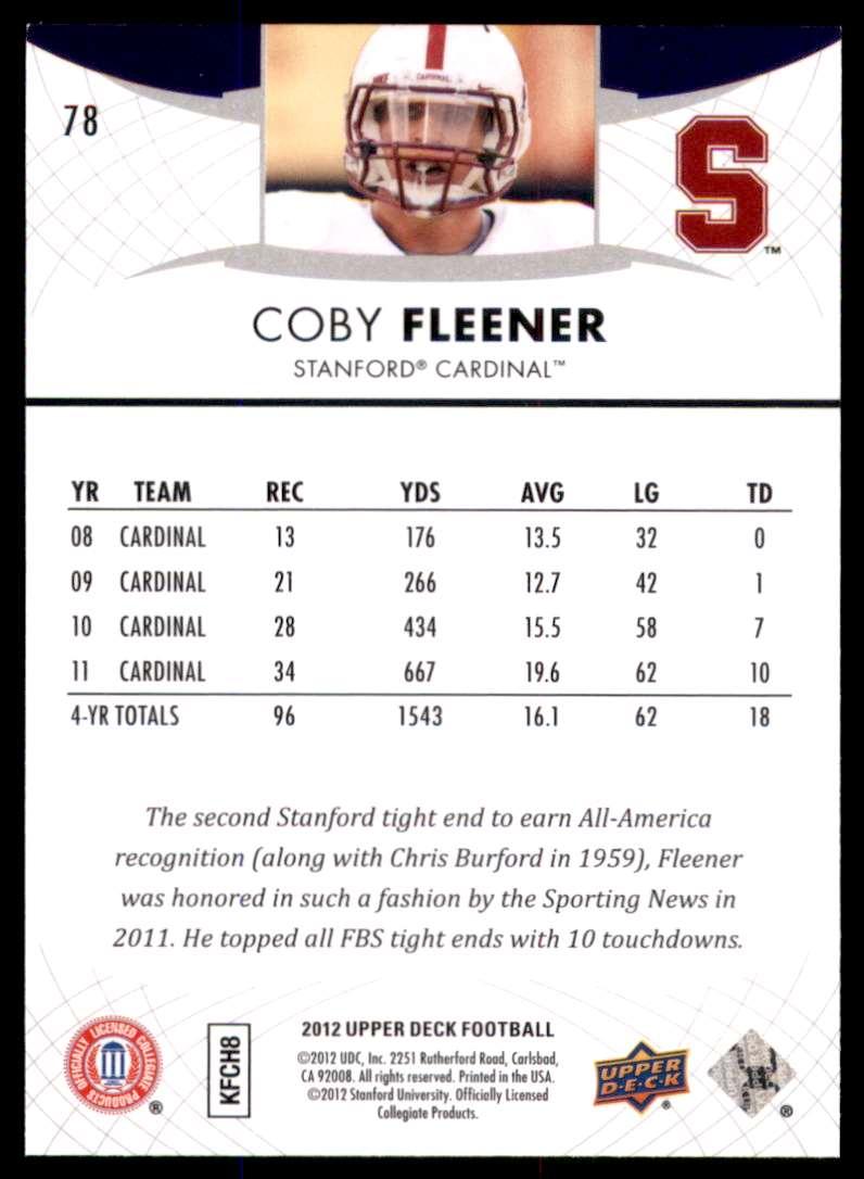 2012 Upper Deck Coby Fleener #78 card back image