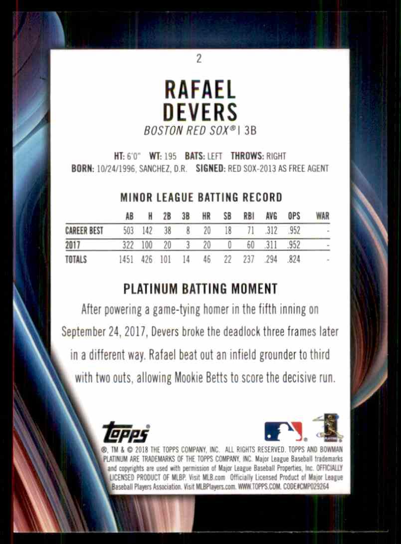 2018 Bowman Platinum Rafael Devers #2 card back image