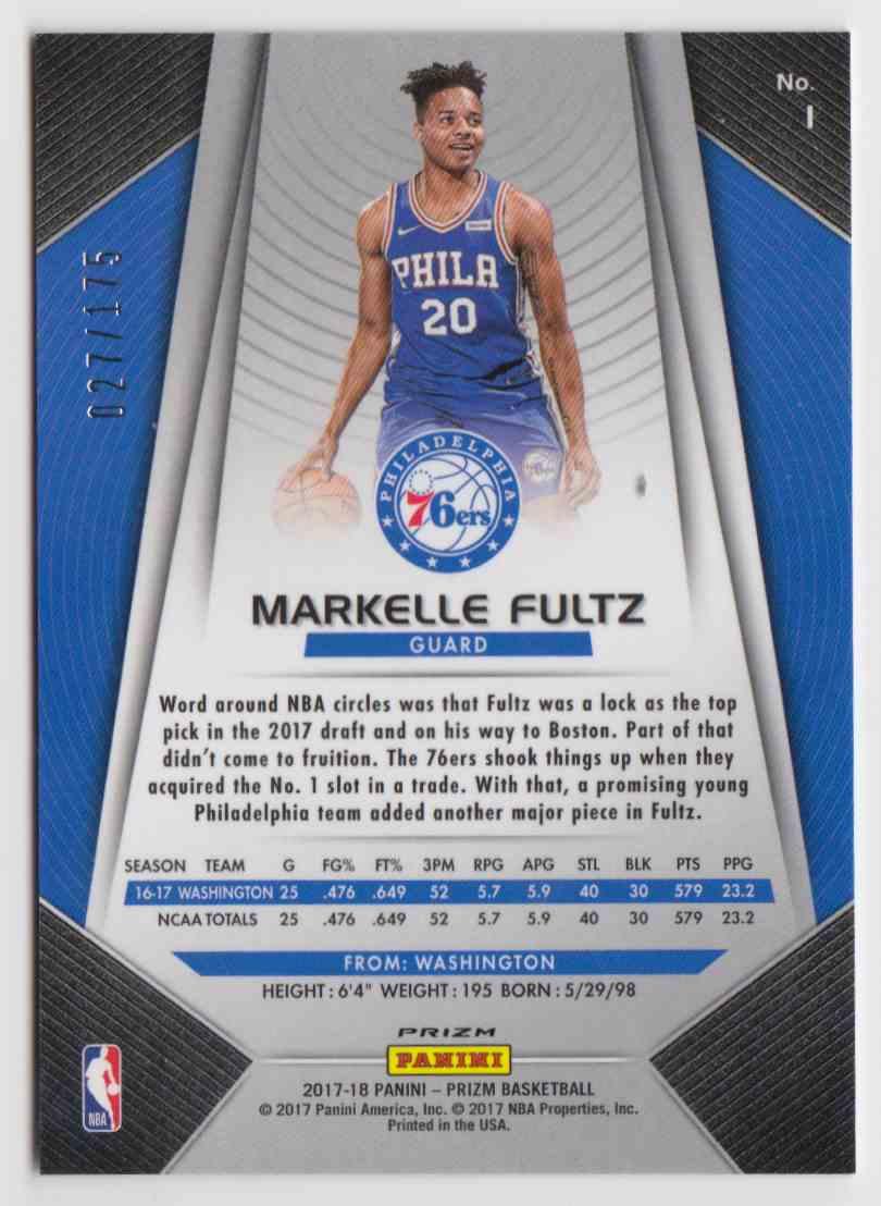 2017-18 Panini Prizm Fast Break Blue Markelle Fultz #1 card back image