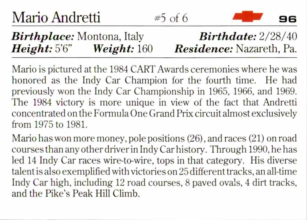 1991 Vette Set Mario Andretti #96 card back image