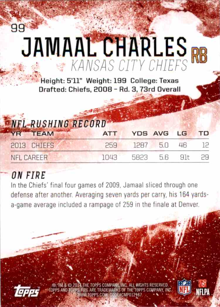 2014 Topps Fire Purple Jamaal Charles #99 card back image