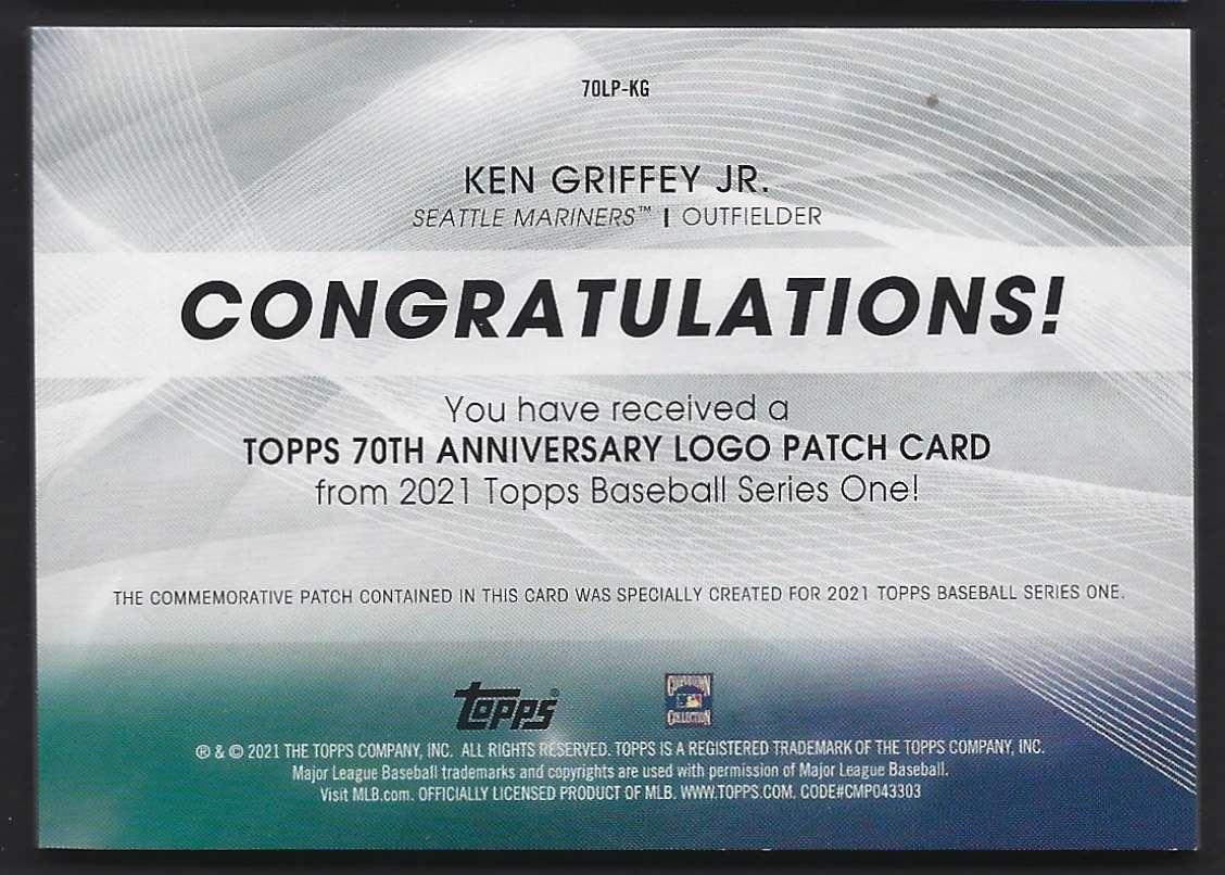 2021 Topps 70th Anniversary Logo Patch Ken Griffey JR. #70LP-KG card back image