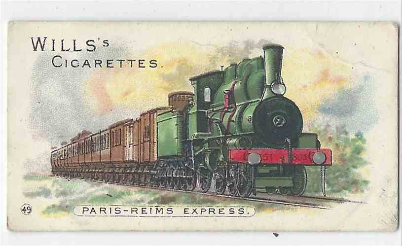 1901 Wills's Locomotives & Rolling Stock Paris -Reims Express #49 card front image