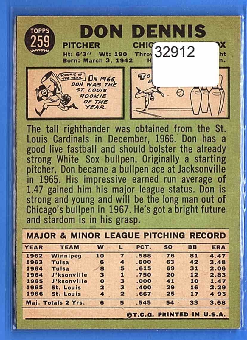 1967 Topps Don Dennis #259 card back image