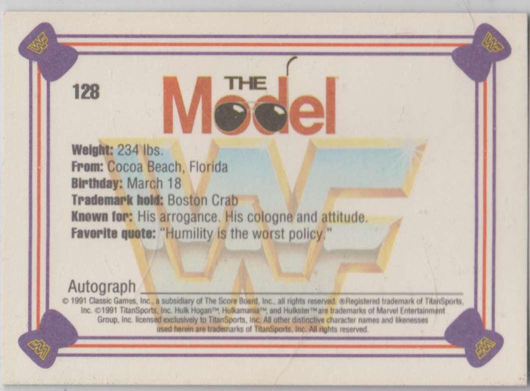 1991 Classic WWF Superstars The Model Ricky Martel #128 card back image