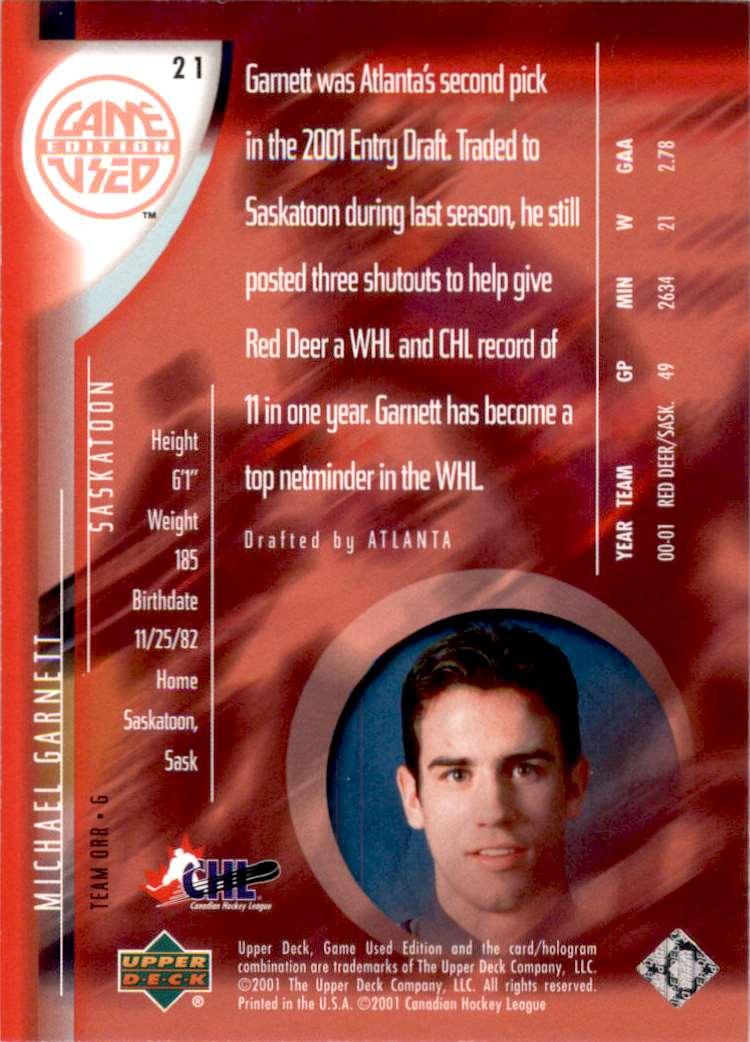 2001-02 UD Prospects Michael Garnett #21 card back image