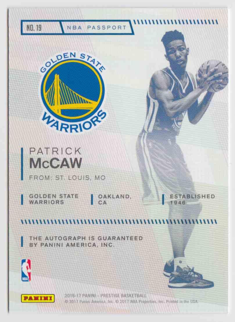 2016-17 Panini Prestige Passport Signatures Patrick McCaw #19 card back image