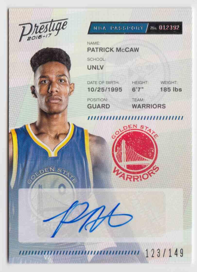 2016-17 Panini Prestige Passport Signatures Patrick McCaw #19 card front image
