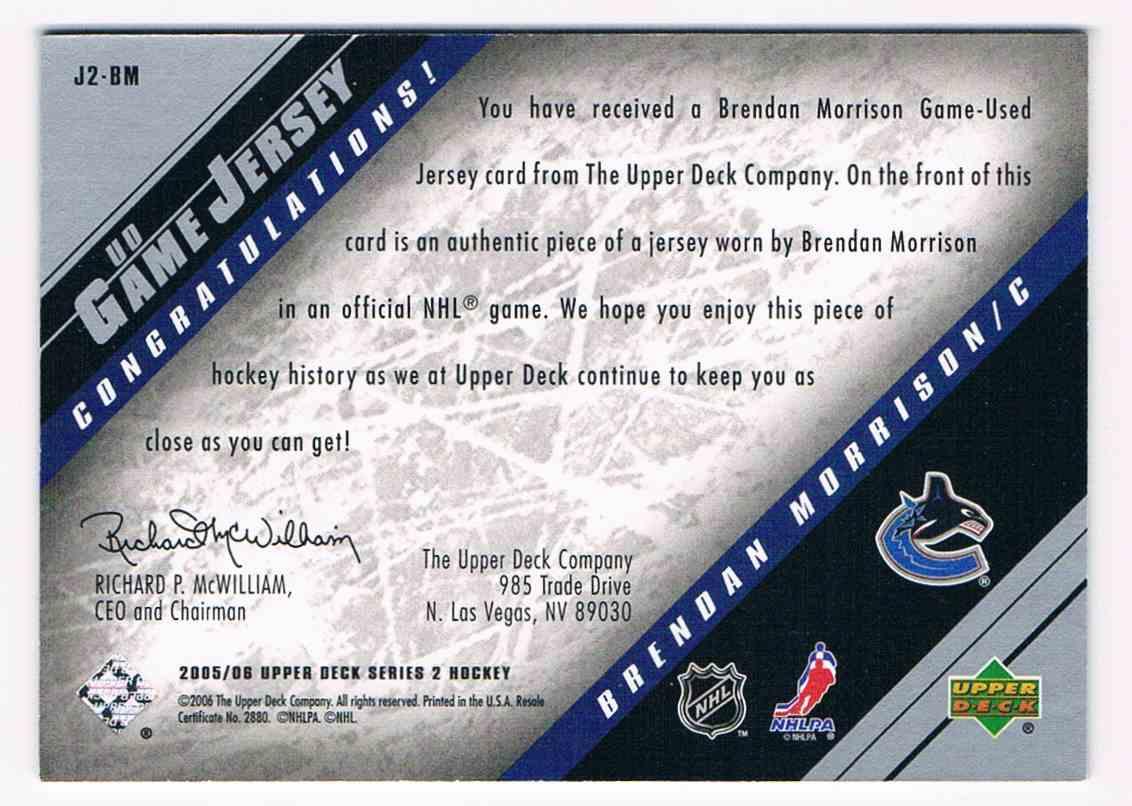 2005-06 Upper Deck UD Game Jersey Brendan Morrison #J2-BM card back image