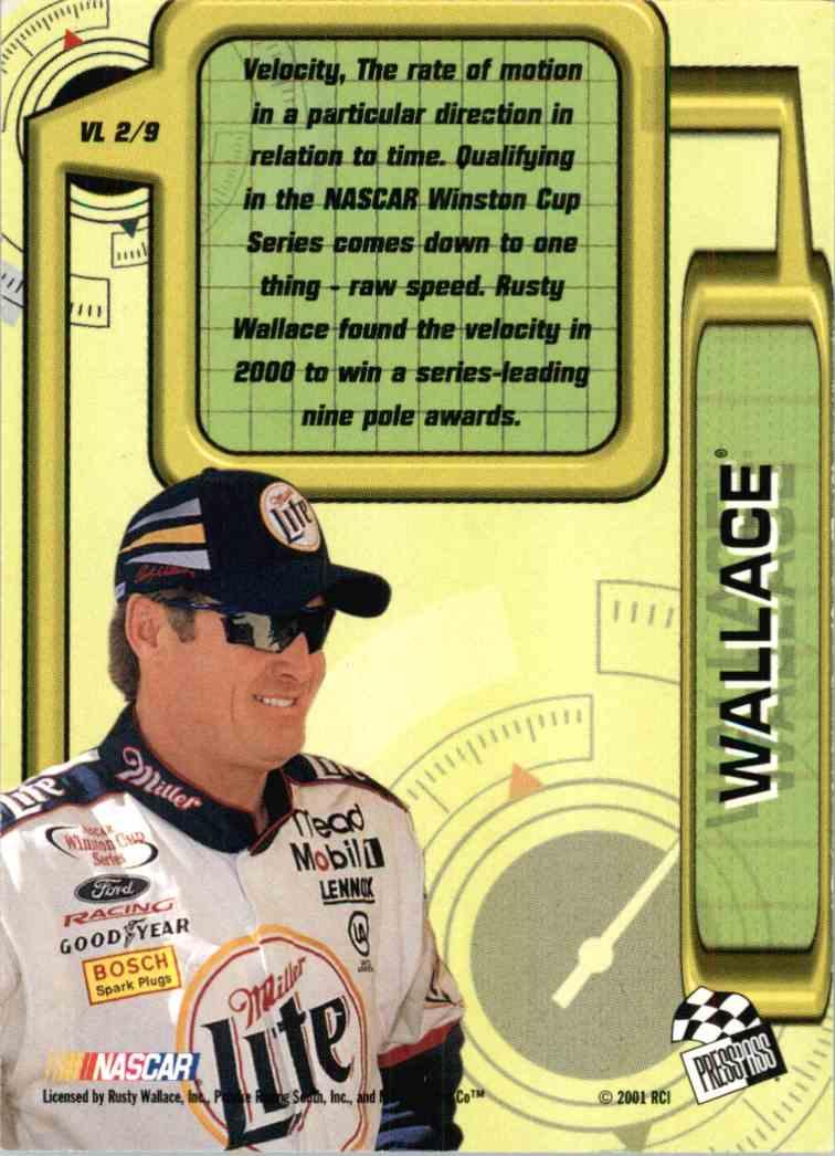 2001 Press Pass Rusty Wallace #VL2 card back image